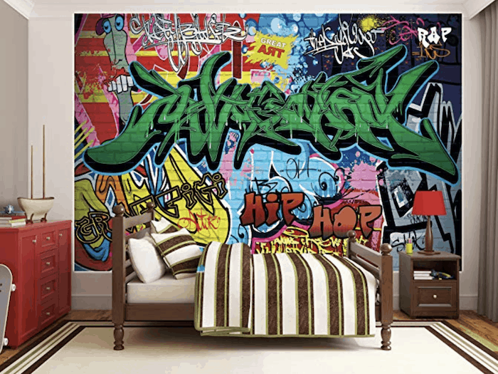graffiti-wall-mural-for-kids-bedroom-ideas-in-mobile-home