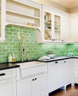 Green Subway Tile Backsplash In Mobile Home