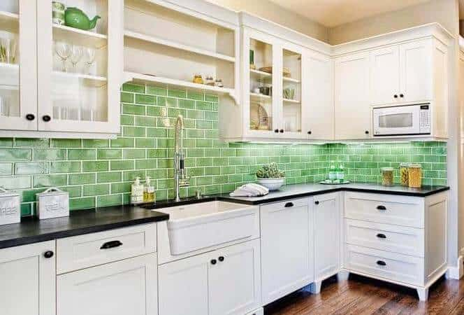 Green Subway Tile Backsplash In Mobile Home 1