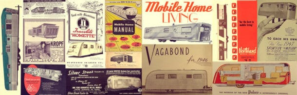mobile home living banner with vintage models