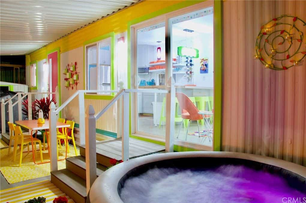 Hot tub colorful retro mobile home