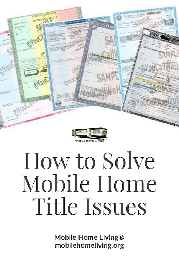 How to solve mobile home title issues