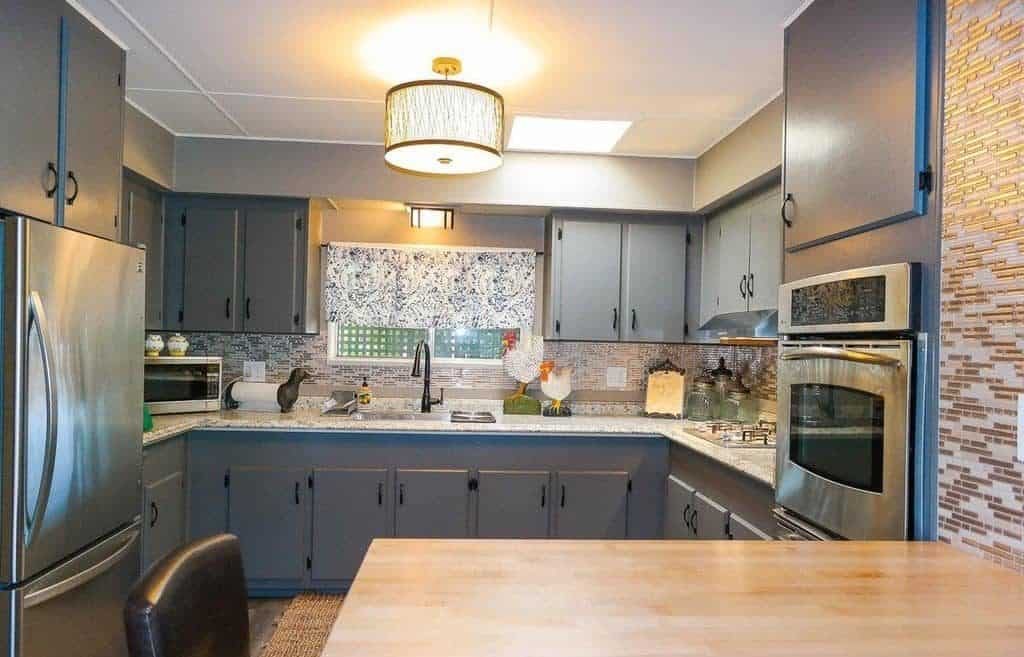 Jaw dropping mobile home gray kitchen