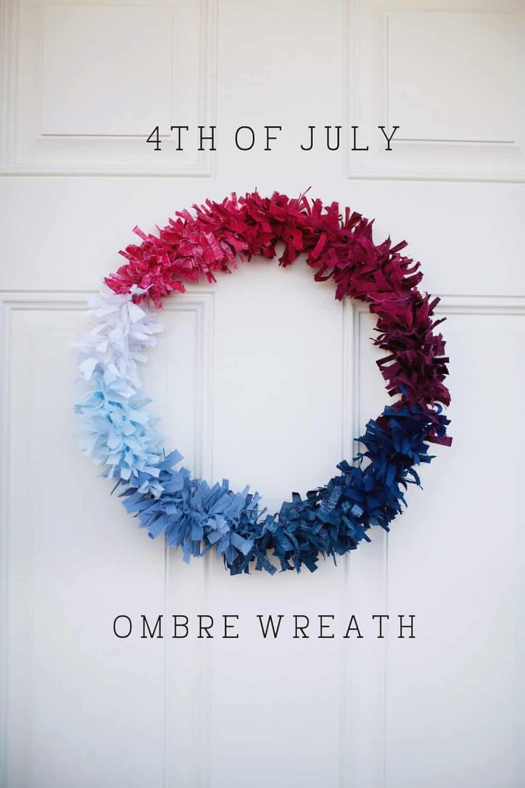 July 4th Ombre Wreath Made Of Cloth Tellloveandparty.com