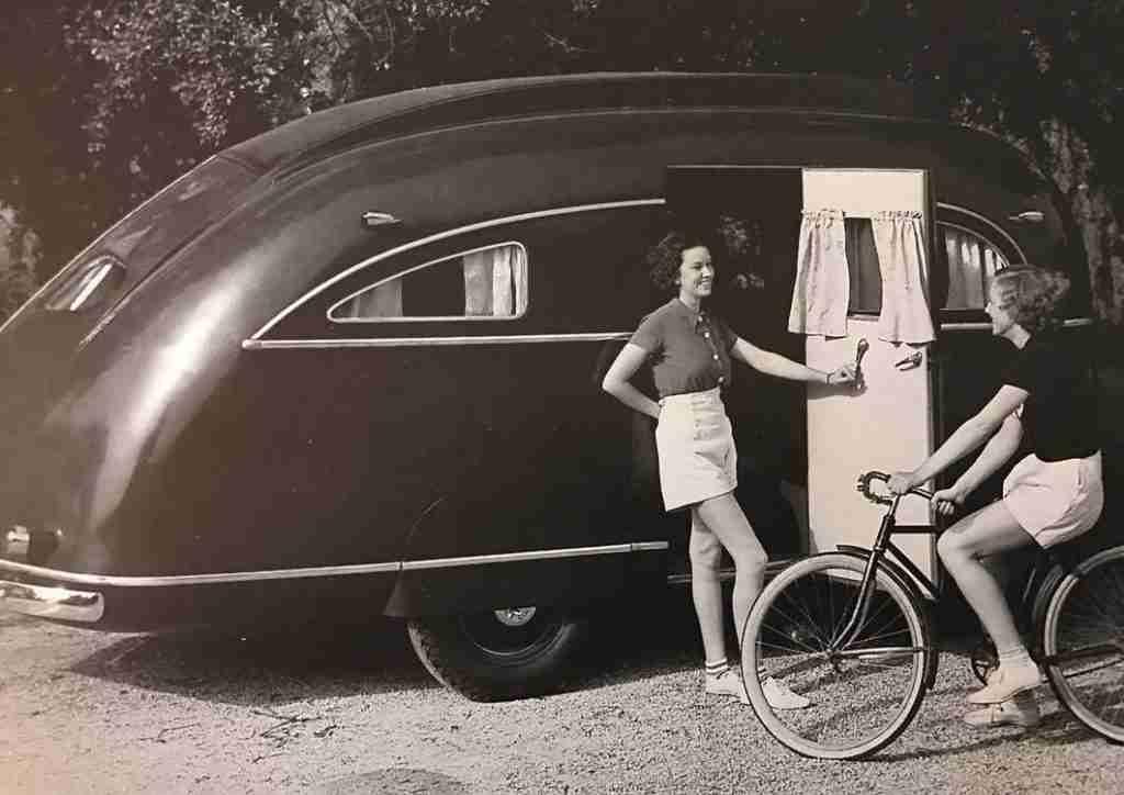 Ladies In Front Of Vintage Camper
