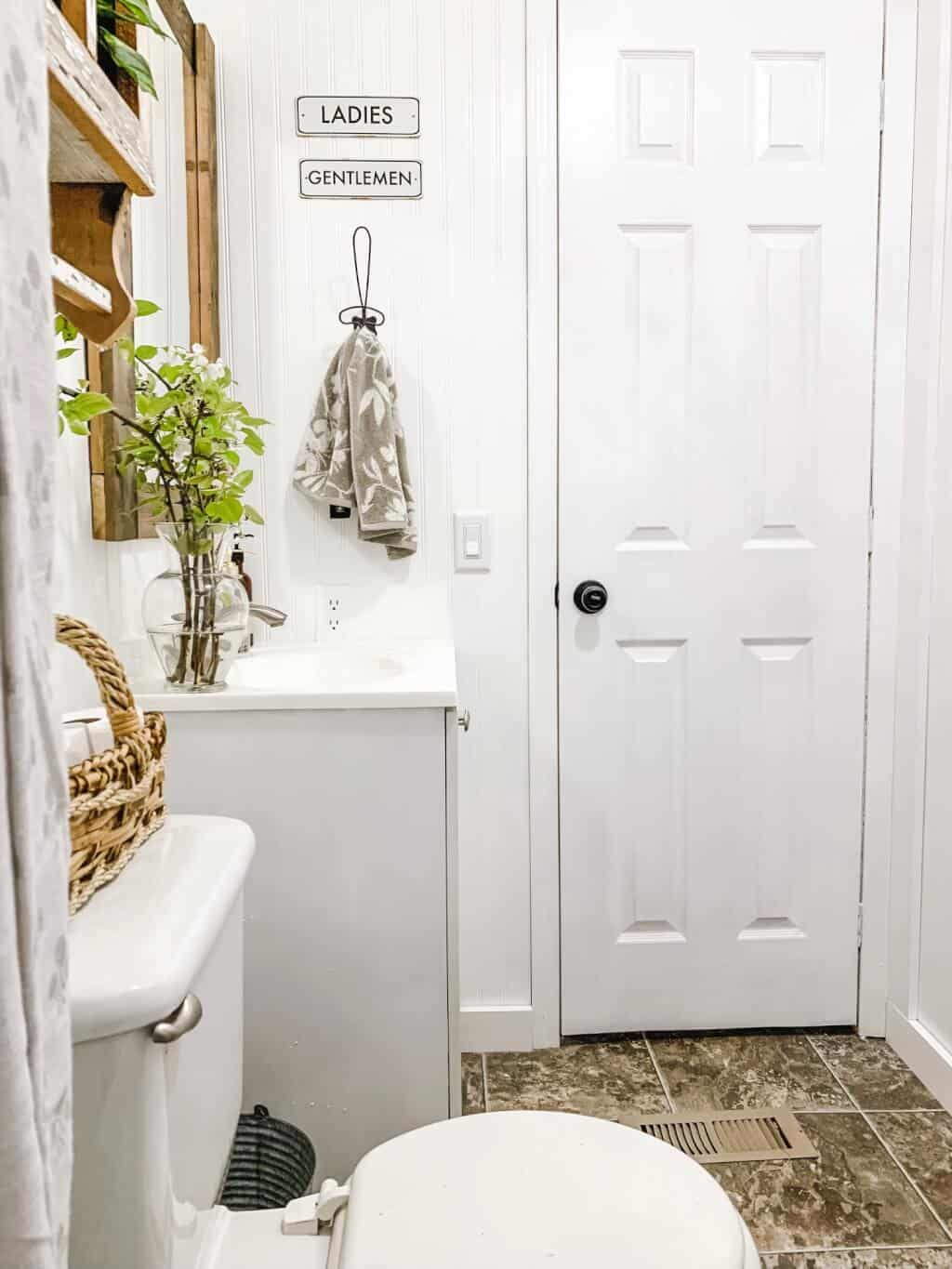 Left Door View for mobile home bathroom makeover