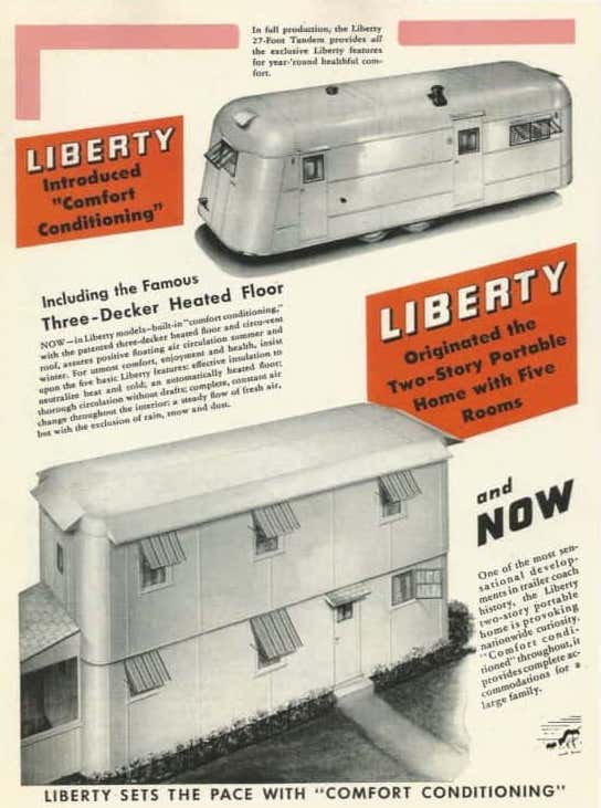 Liberty Story X vintage mobile home advertisement