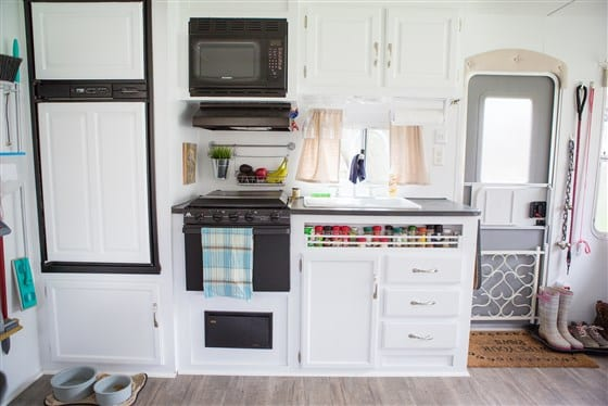 Light and bright camper kitchen after