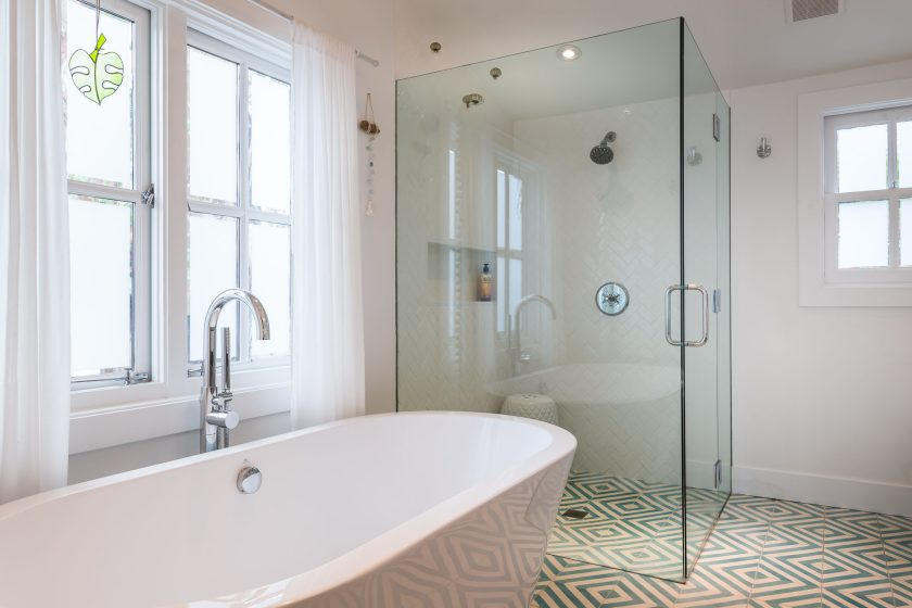 Light and bright double wide shower