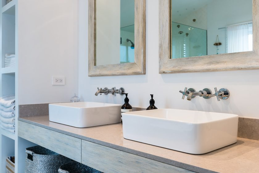 Light and bright double wide vanity