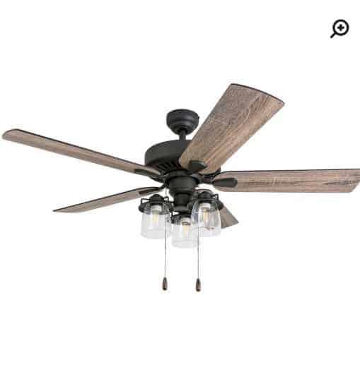 Light wood ceiling fan