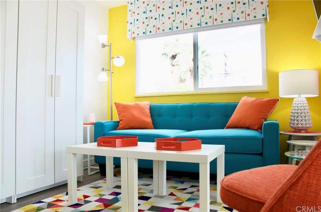 Living Room In Colorful Retro Mobile Home