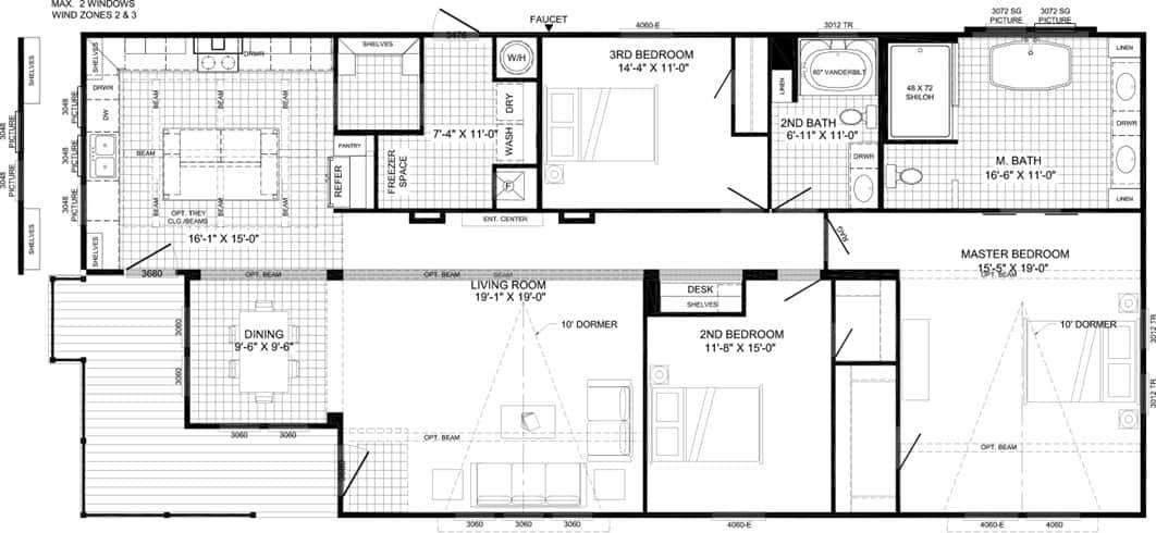 Lulamae model manufactured home - new manufactured home designs - living room - floorplan