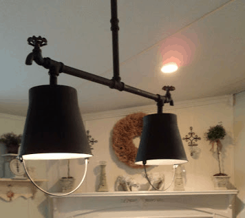 DIY bucket and pipe light fixture