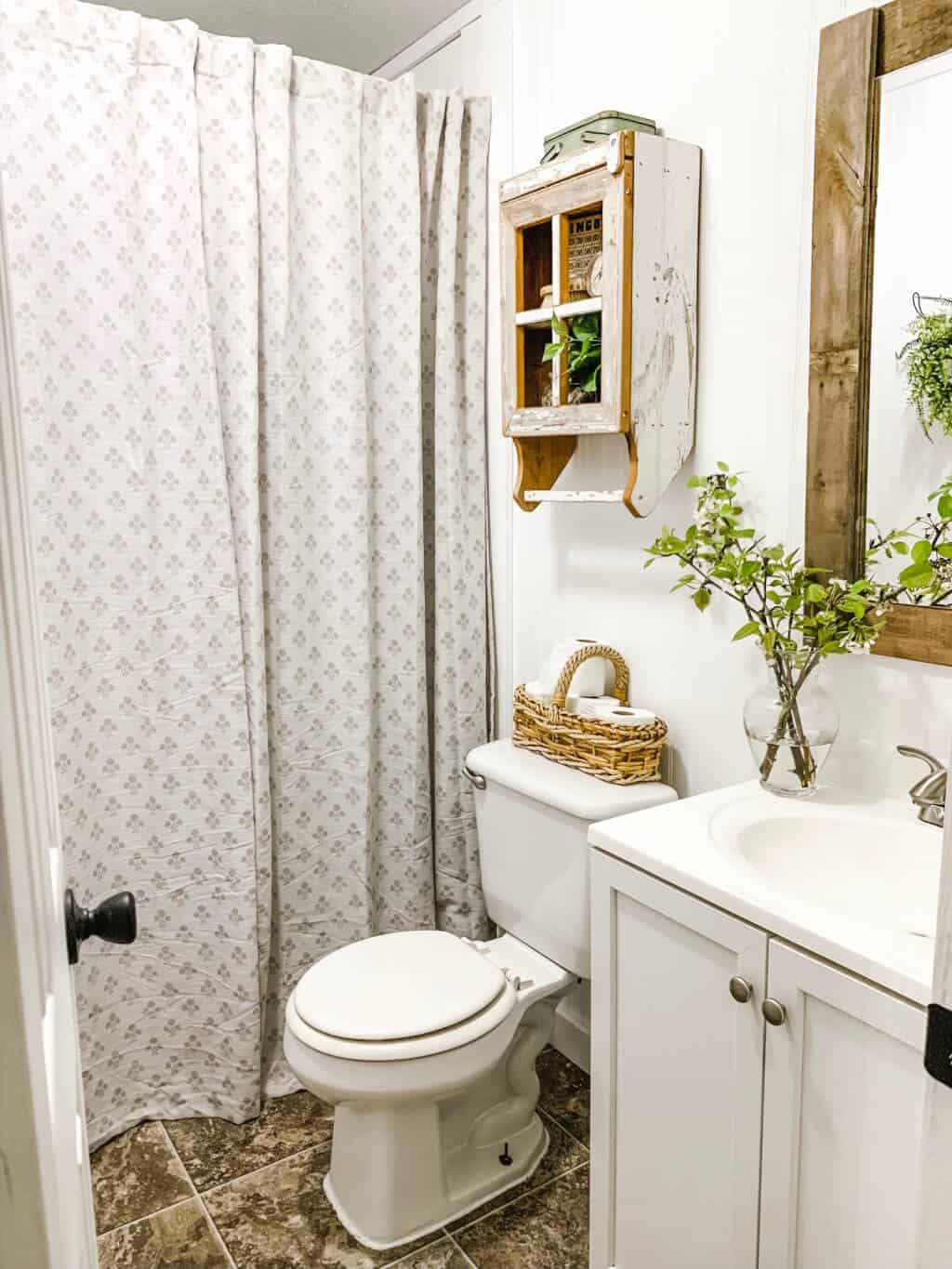 affordable farmhouse mobile home bathroom makeover