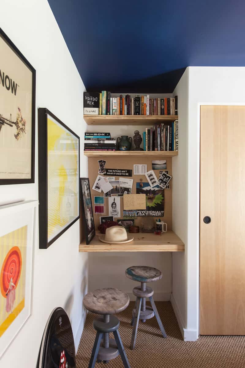 small home office with dark blue ceiling in mobile home