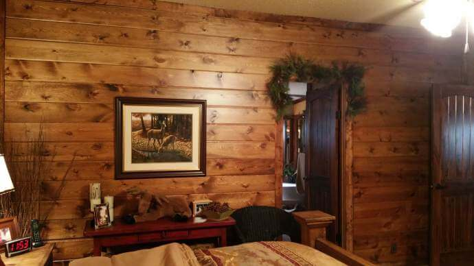 Rustic Cabin Manufactured Home Remodel- wall after new wood installed