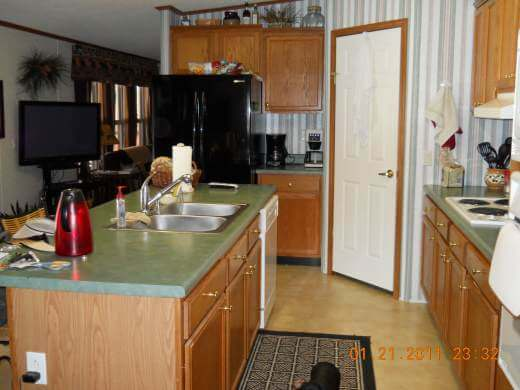 Rustic Cabin Manufactured Home Remodel- kitchen before