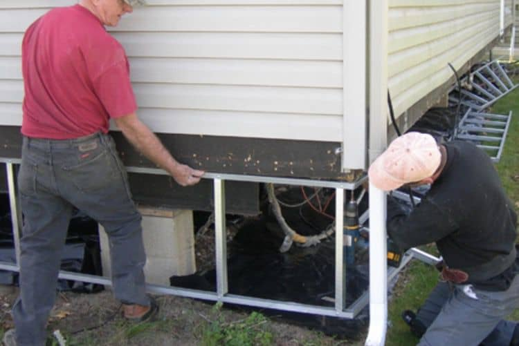 Metal Framing Installed For Mobile Home Skirting Panels 1