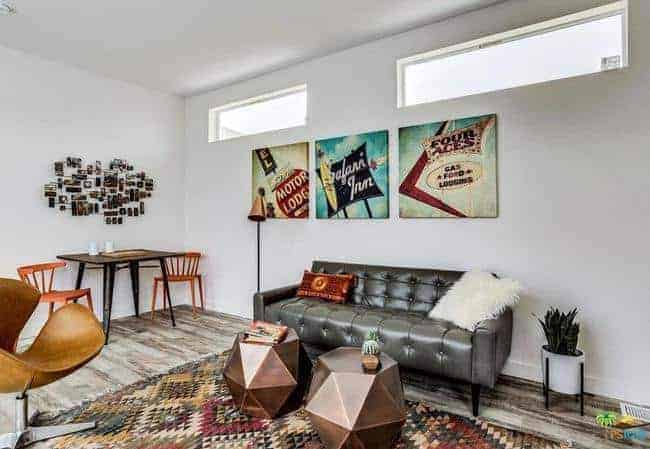 mid-century modern manufactured home for sale in California living room 3
