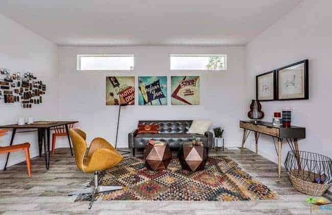 mid-century modern manufactured home for sale in California living room 6