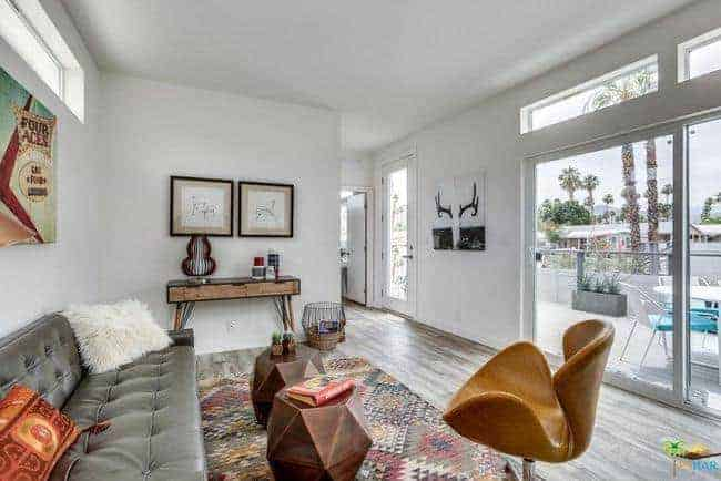 mid-century modern manufactured home for sale in California living room area