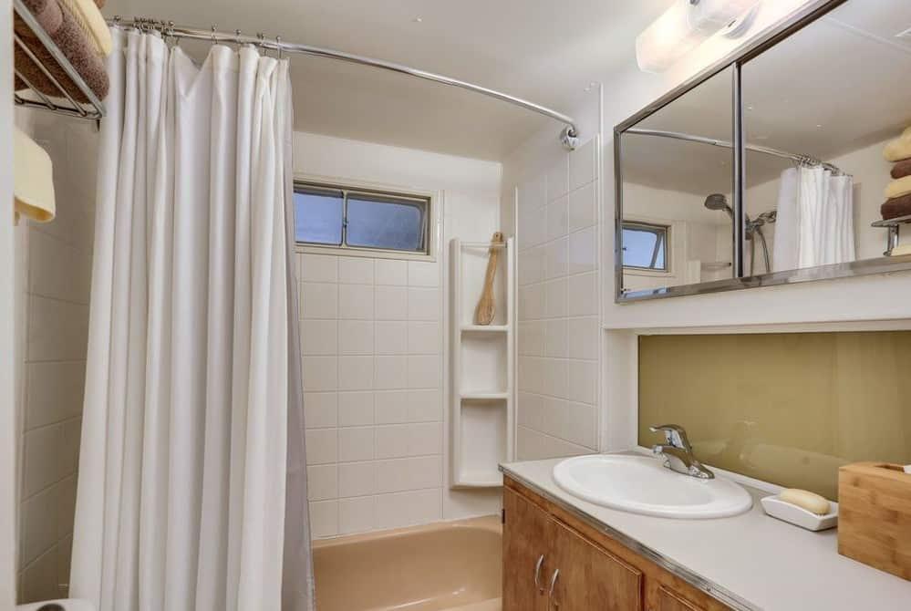 Mint green trailer bathroom