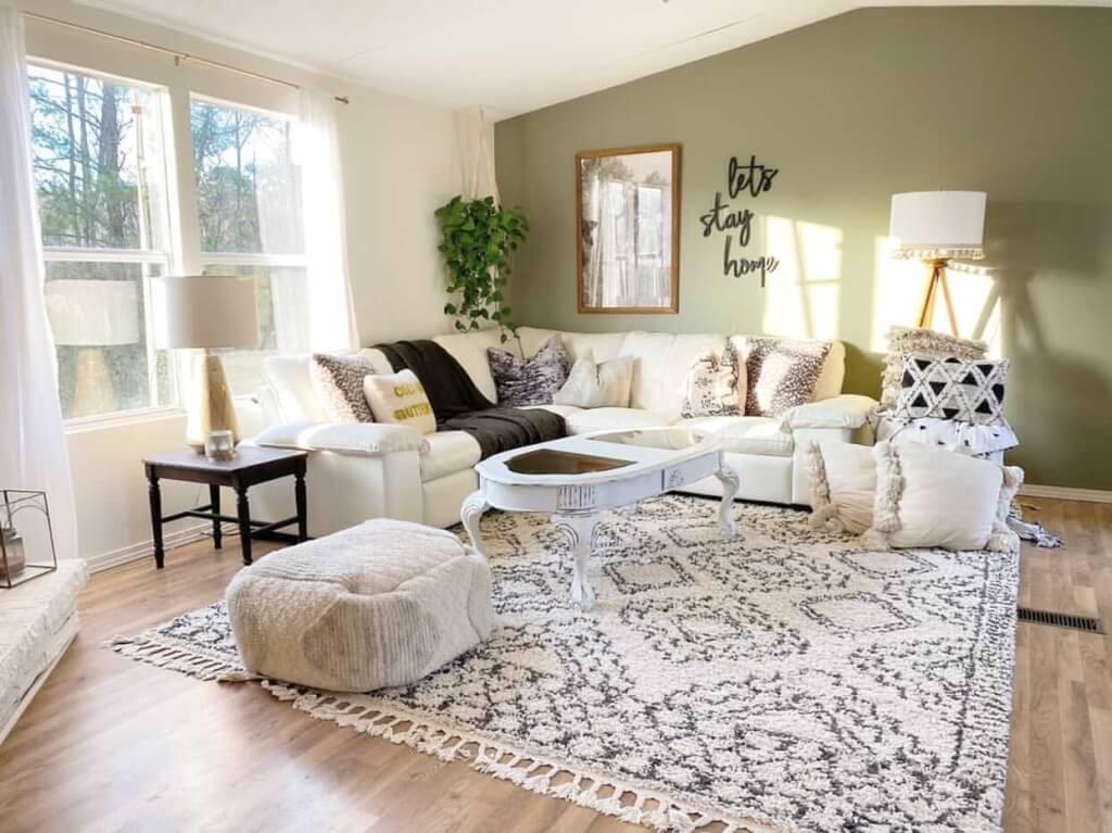 Mississippi single wide living room after 1