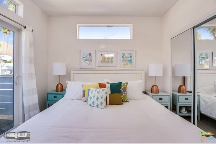 Mobile home bedrooms simple midcentury modern style