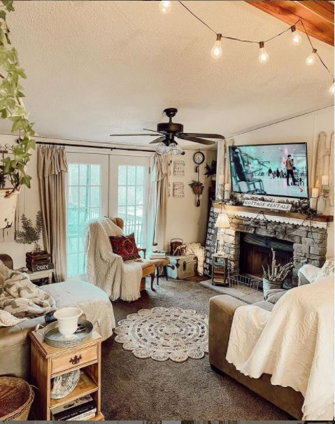 Mobile home cottage living room