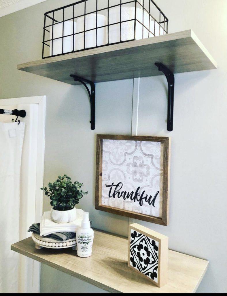 Mobile home farmhouse bathroom shelf