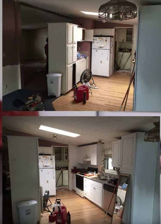 Mobile home flippers create beautiful farmhouse mobile home kitchen 1 before remodel