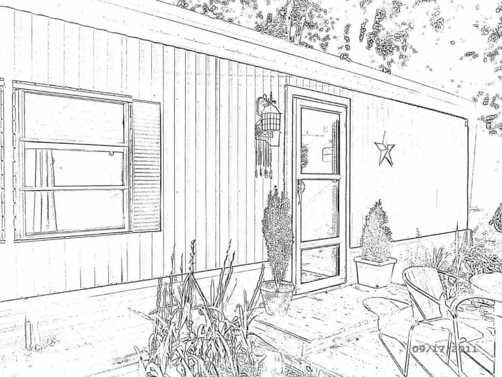 mobile home in pencil