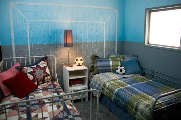 Soccer themed kids bedroom in a mobile home