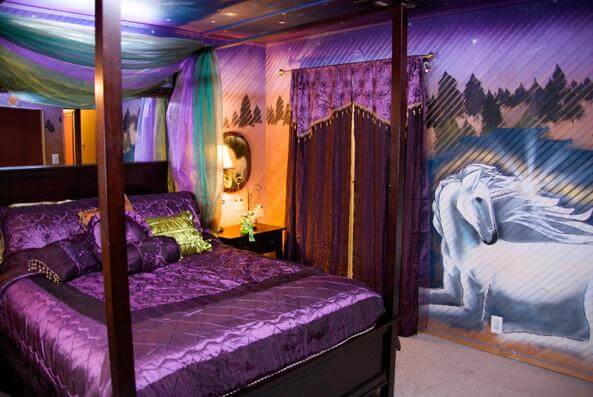 magical unicorn themed kids bedroom in a mobile home