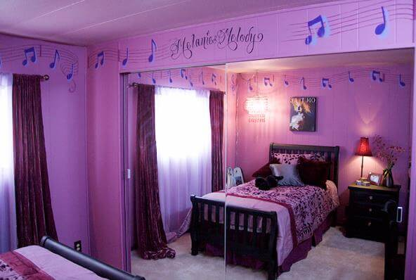 purple bedroom with musical theme decor - kids bedroom ideas