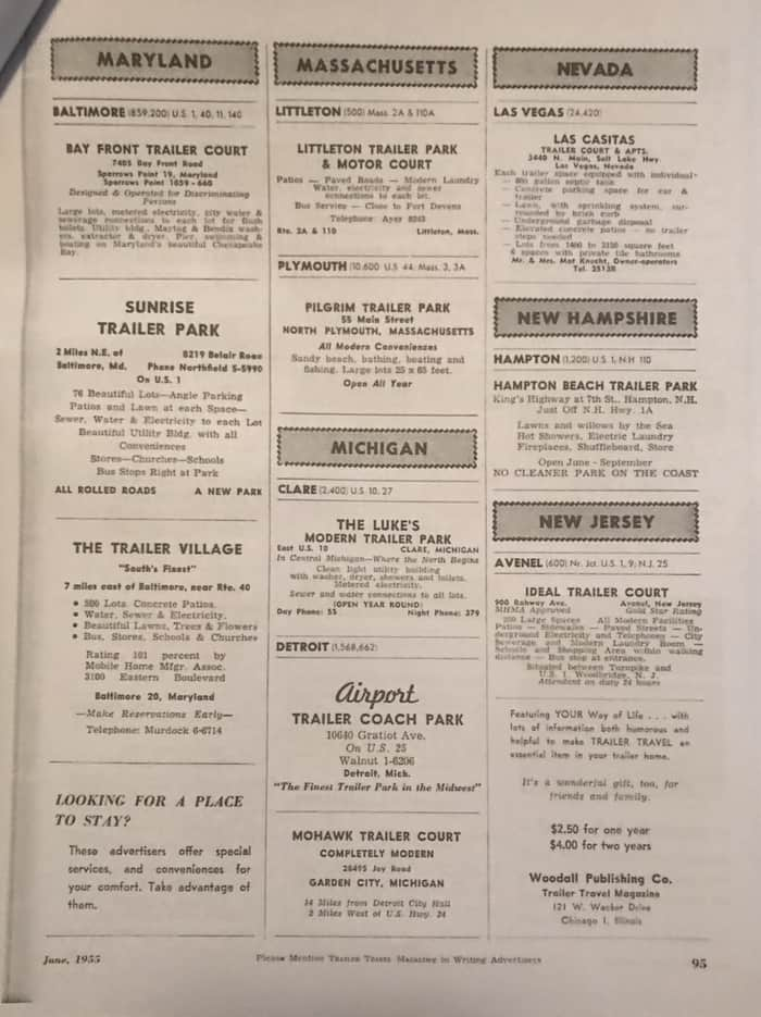 Mobile home park advertising from 1955 page 5