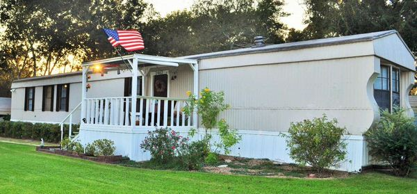 single wide manufactured home exterior after