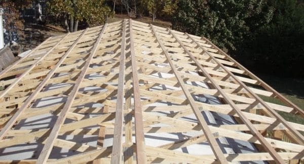 mobile-home-roof-over-designs-trusses-installed- Rafter Buckle Mobile Homes on