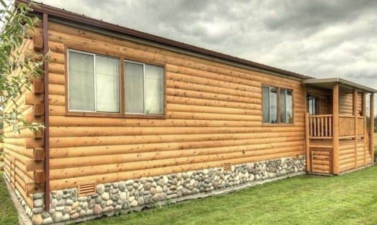 mobile home siding - log cabin look on a mobile home