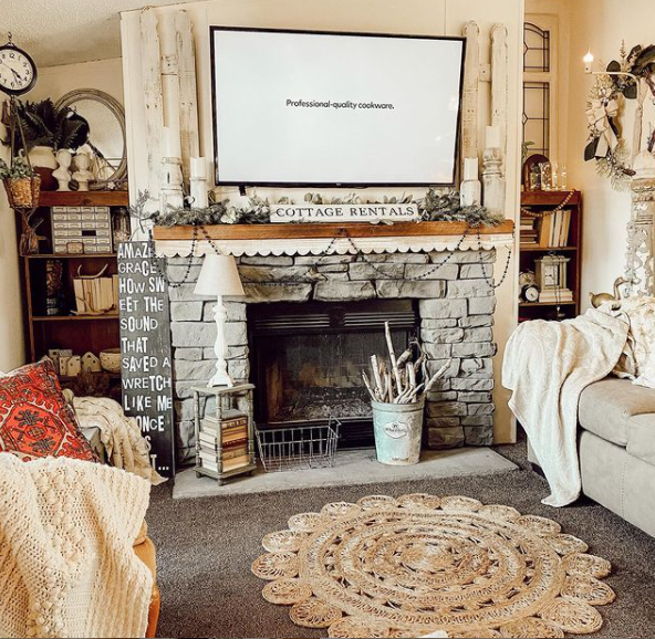 Mobilehome cottage fireplace