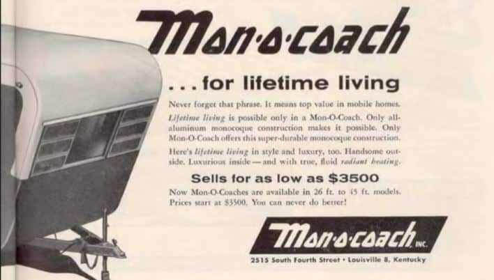 Monocoach vintage mobile home ads