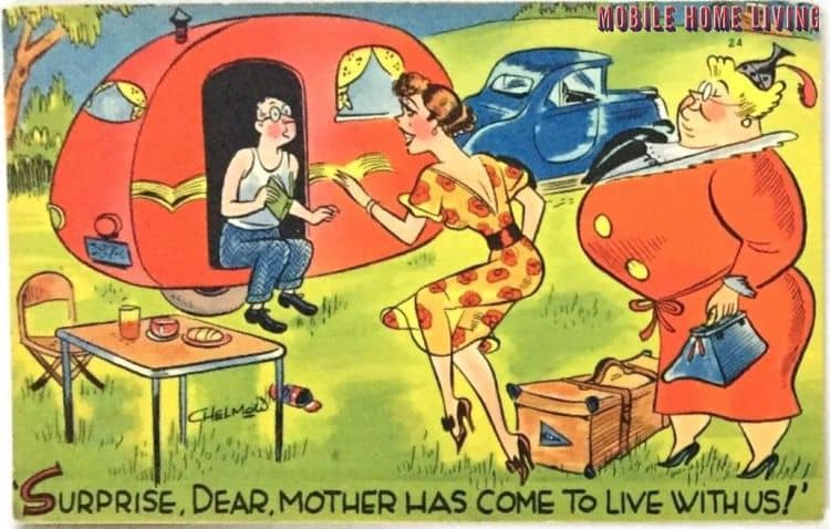 Mother has come to live with us postcard 1