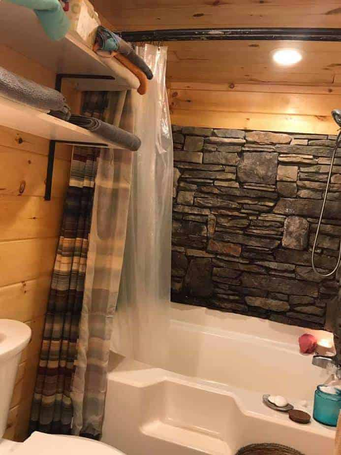 nc-bathroom with stone bathtub surround