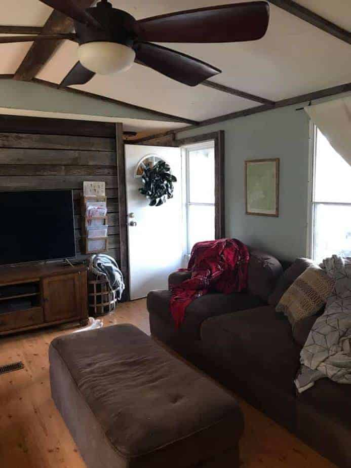 Nc-living-room with wood shiplap wall