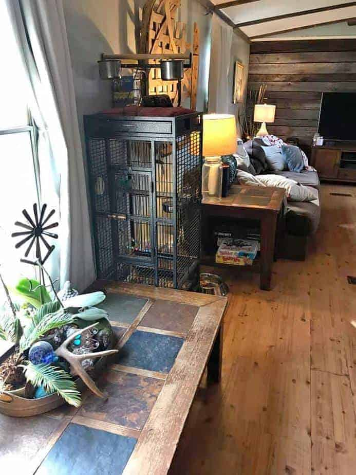 Nc-mobile home with dark wood primitive interior