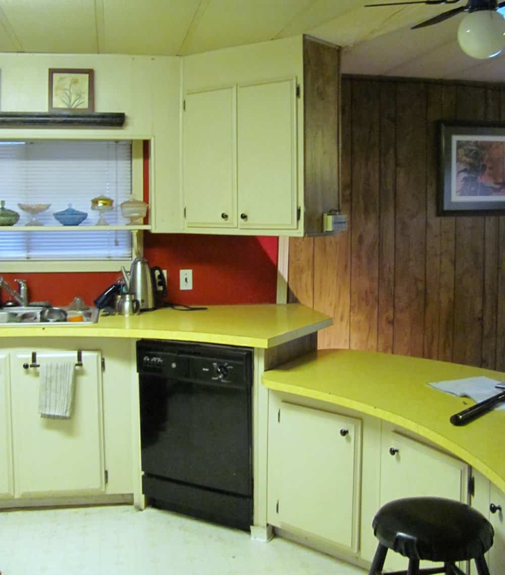 original counters in budget mobile home kitchen makeover