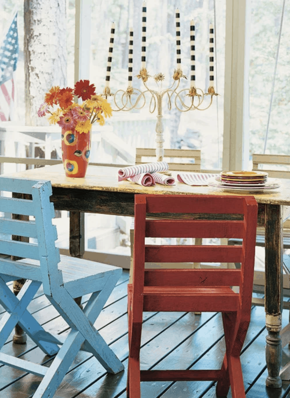 outdoor porch decor in single wide mobile home featured on BHG