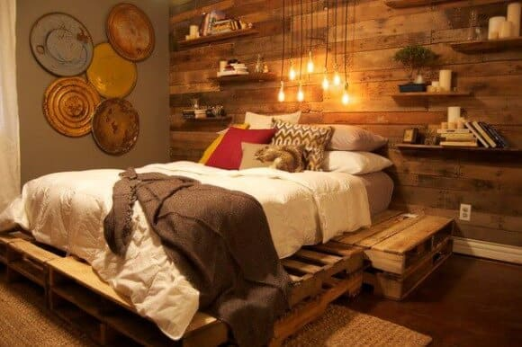 pallet bedroom wall and shelf project