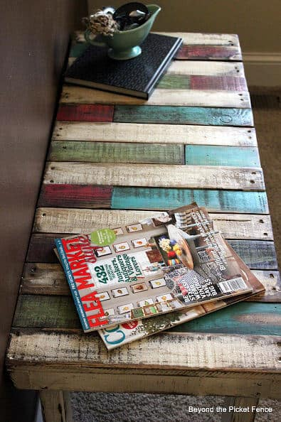 colorful entry pallet bench project